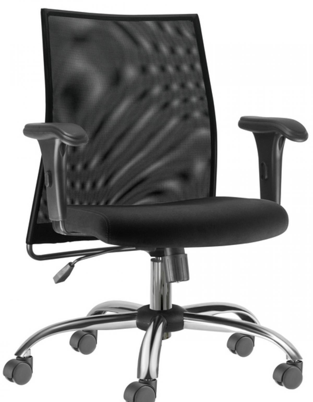 CAD - 45 Cadeira De Escritório Presidente tela Com Braço E Base Cromada Estofada Com Relax
