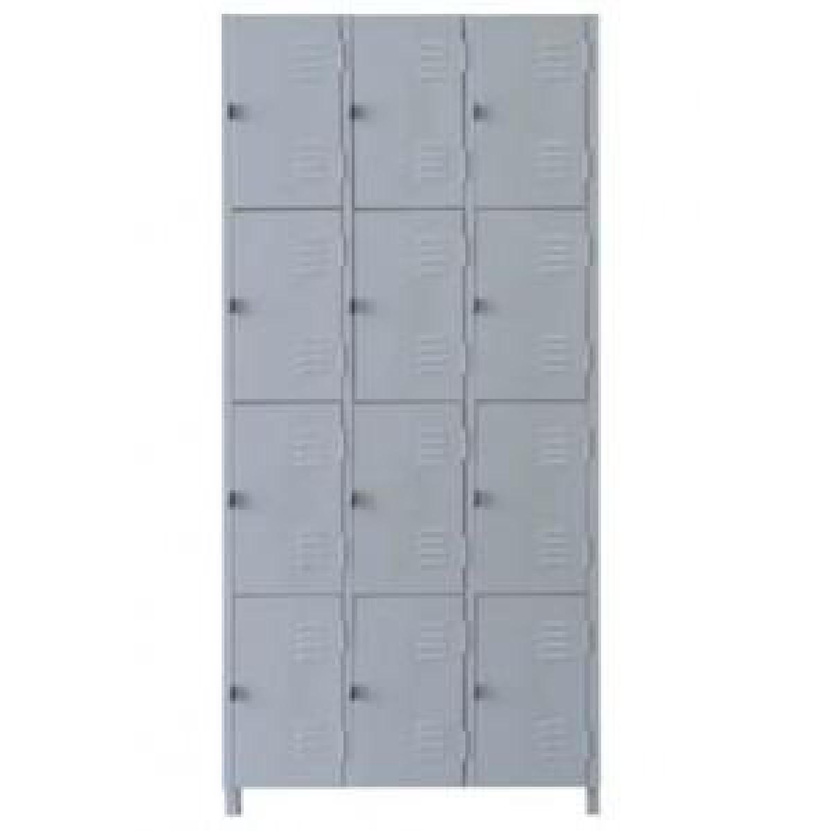 AÇO-06 -197x093x040 Roupeiro Para Vestiario De Aço Com 12 Portas Pequenas Com Pitão Para Cadeado