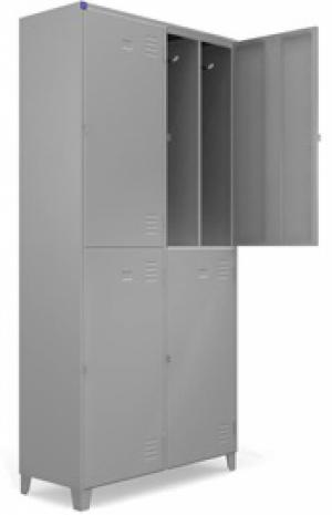 AÇO-09 -197x100x040 Roupeiro Para Vestiario De Aço Com 04 Portas Grandes Com Divisor Com Pitão Para Cadeado