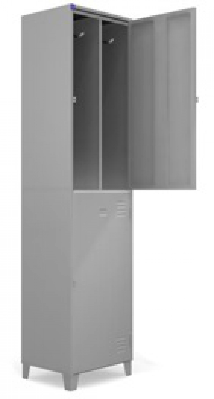 AÇO-10 - 197x050x040 Roupeiro Para Vestiario De Aço Com 02 Portas Grandes Com Divisor Com Pitão Para Cadeado