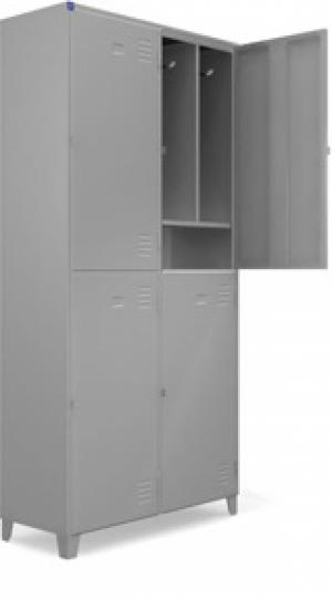AÇO-11 - 197x100x040 Roupeiro Para Vestiario De Aço Com 04 Portas Grandes Com Sapateira Com Pitão Para Cadeado
