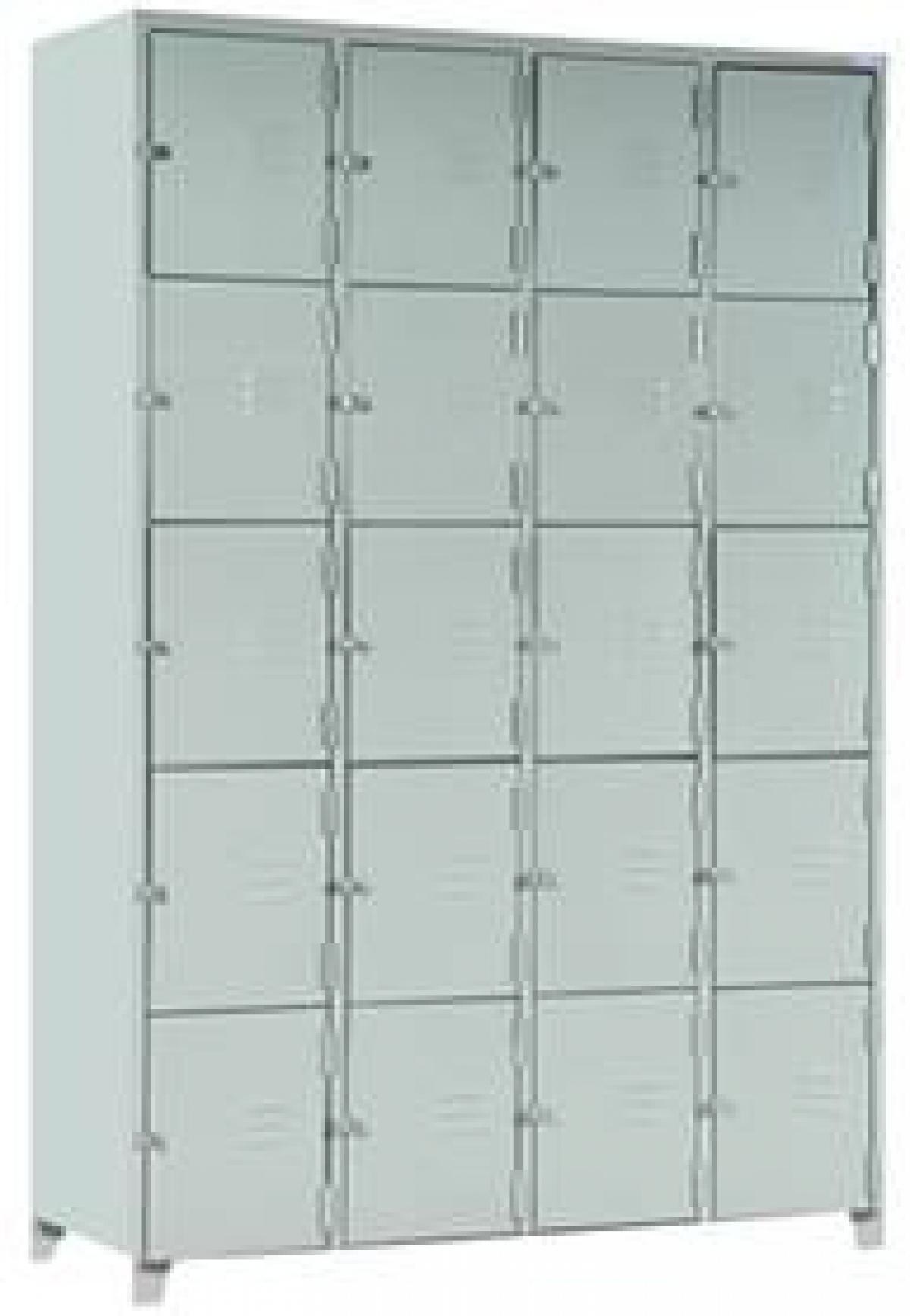 AÇO-13 -197x123x040 Roupeiro Para Vestiario De Aço Com 20 Portas Pequenas Com Pitão Para Cadeado