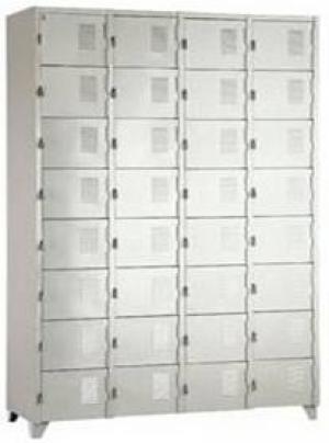 AÇO-14 - 197x123x040 Roupeiro Para Vestiario De Aço Com 32 Portas Pequenas Com Pitão Para Cadeado